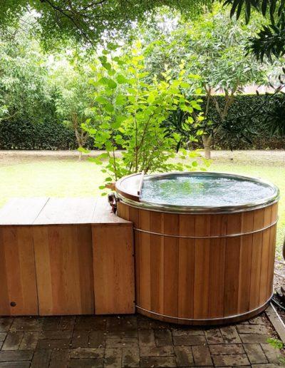 Bain nordique en acier inoxydable, installation bain nordique storvatt, installation bain nordique, installation spa
